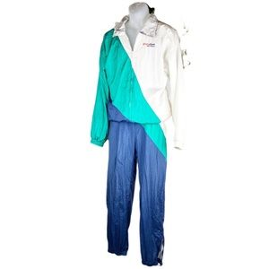 VTG Colorblock Tracksuit Crinkle Full Zip White